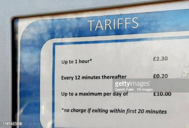 A view of parking charges at William Harvey Hospital in Ashford Kent which is part of the East Kent Hospitals University NHS Foundation Trust