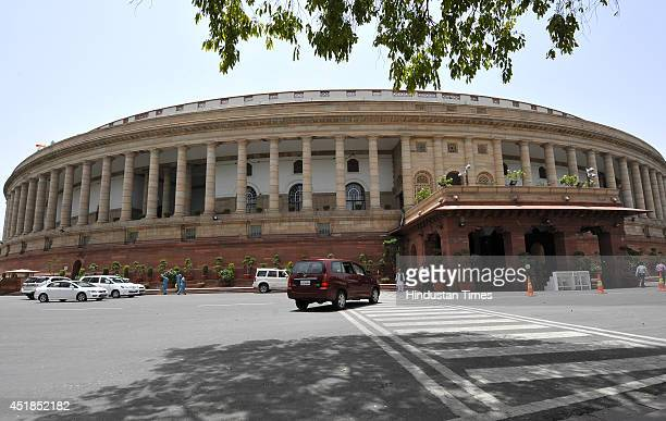 A view of Parliament building during Budget session on July 8 2014 in New Delhi India Indian Railway Minister proposed allowing foreign investment to...