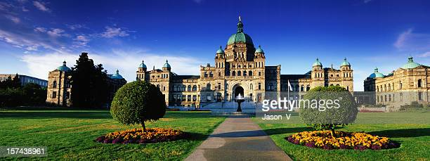 view of parliament buildings in british columbia - victoria canada stock pictures, royalty-free photos & images