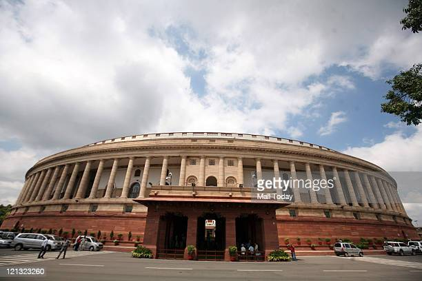 A view of Parliament House during the ongoing monsoon session of Parliament in New Delhi on Wednesday 17 August 2011