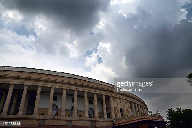 A view of Parliament house during the parliament budget session 2014 on July 17 2014 in New Delhi India Demanding a discussion on the ongoing...