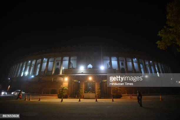 A view of Parliament house on the eve of Parliament winter session on December 14 2017 in New Delhi India The winter session will be held from...