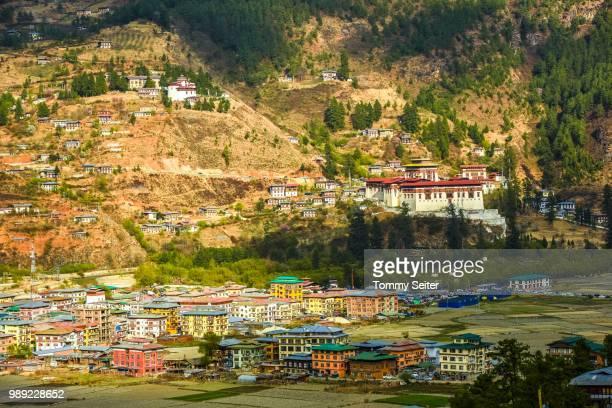 View of Paro and monastery fortress, Rinpung Dzong, Paro Valley, Himalayan region, Bhutan