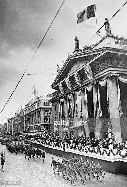 View of part of the big parade that marked the celebration of Ireland's debut as an independent republic. Units of the Irish Army are marching past...