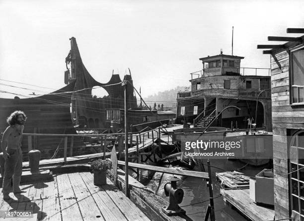 A view of part of the houseboat community Sausalito California late 1960s