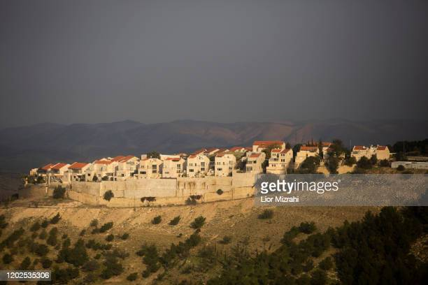 A view of part of the Jewish settlement of Maale Adumim on January 28 2020 in Maale Adumim West Bank US President Donald Trump says he's offering the...