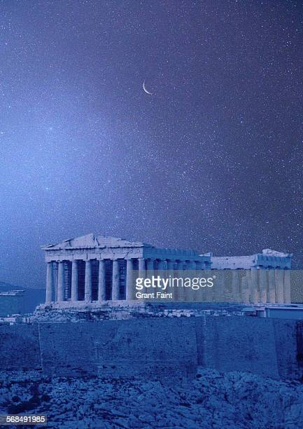 view of parthenon - mythology stock pictures, royalty-free photos & images