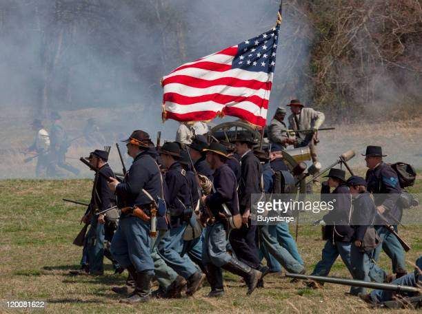 View of participants in a US Civil War reenactment of the siege at Bridgeport Bridgeport Alabama 2010