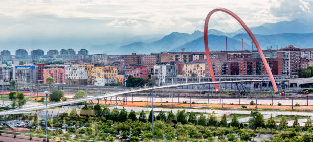 View of Passerella (footbridge) and Arco Olimpico (Olympic Arch),