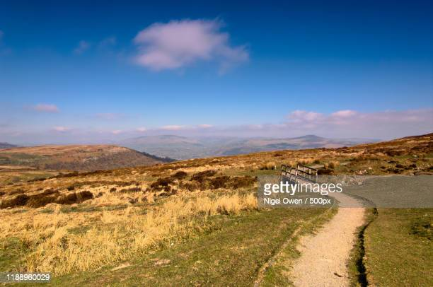 view of path on rolling landscape - nigel owen stock pictures, royalty-free photos & images