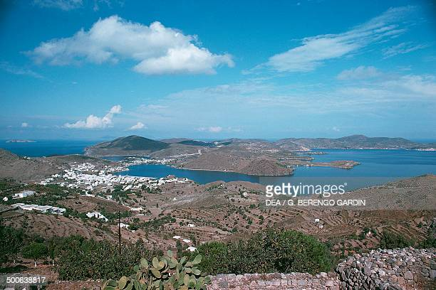 View of Patmos island Dodecanese Greece