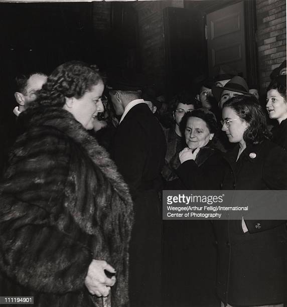 View of patrons in line outside of the Metropolitan Opera New York New York mid 20th century Photo by Weegee /International Center of...
