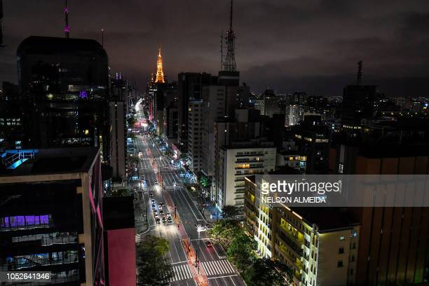 View of Paulista Avenue the financial centre of Sao Paulo Brazil on October 20 2018