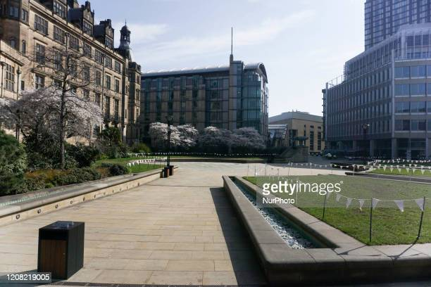 View of Peace Gardens is seen deserted in Sheffield, England on 24 March 2020.