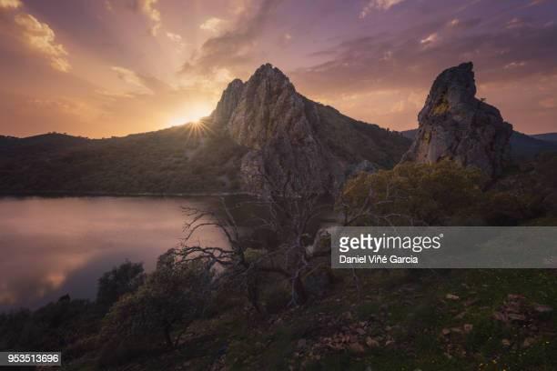view of pena falcon rock on tajo river in monfrague national park (parque natural de monfrague), caceres, extremadura, spain, europe - extremadura fotografías e imágenes de stock