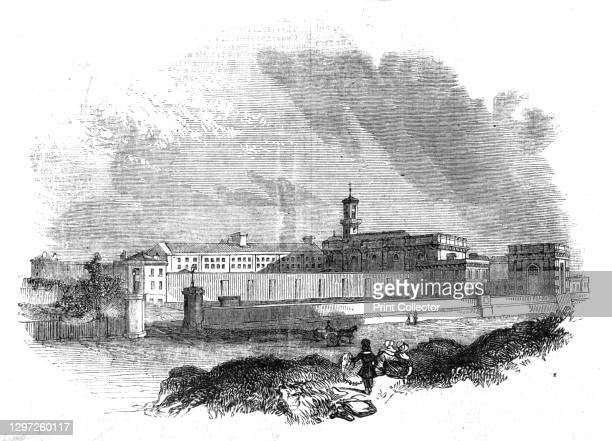 """View of Pentonville Prison, 1842. Men's prison in London. From """"Illustrated London News"""" Vol I. Artist Unknown."""