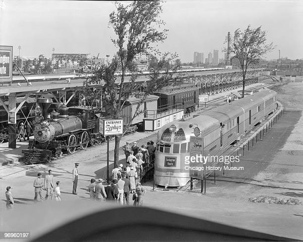 View of people as they line up to view the Burlington Zephyr at the Century of Progress International Exposition Chicago Illinois 1934 The...