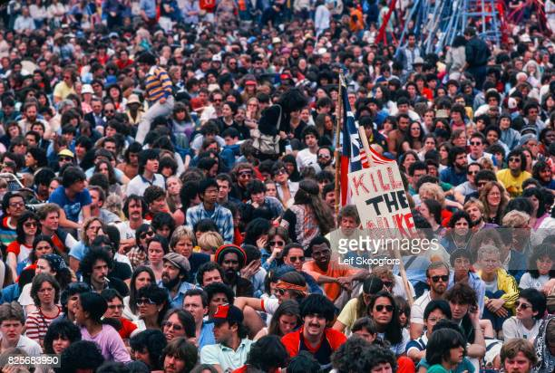 View of people gathered in Central Park during the Rally For Nuclear Disarmament, New York, New York, July 12, 1982. The rally drew hundreds of...