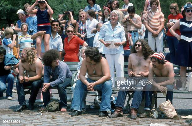 View of people gathered in downtown Manhattan during the bicentennial celebrations New York New York July 4 1976 They were there to watch a display...