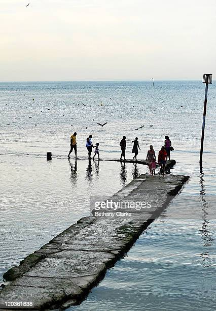 A view of people on the the Margate Main Sands beach at dusk on August 2 2011 in Margate England The east Kent seaside town of Margate is currently...