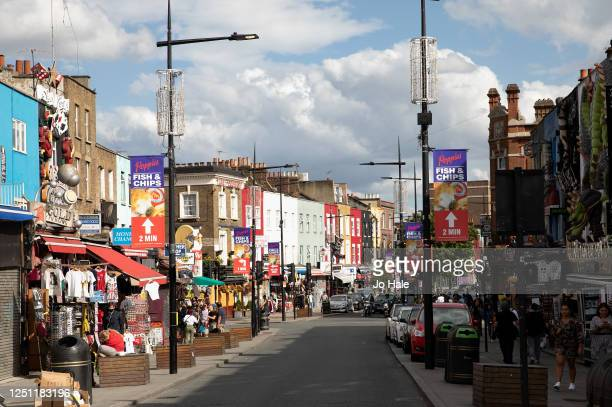 View of people shopping in Camden Town on June 21, 2020 in London, England. The British government have relaxed coronavirus lockdown laws...