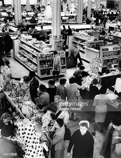 A view of people shopping inside Macy's New York City 1980