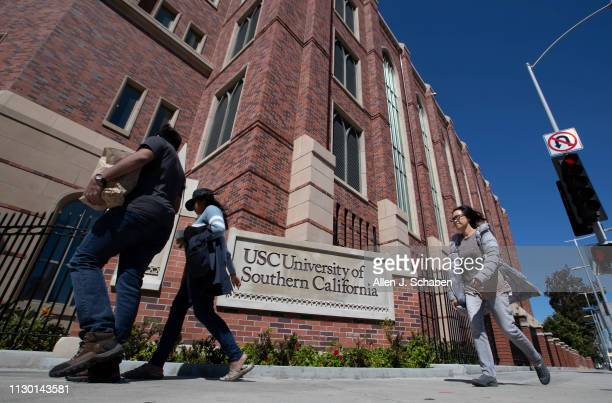 A view of people visiting the University of Southern California on March 12 2019 in Los Angeles California Federal prosecutors say their...
