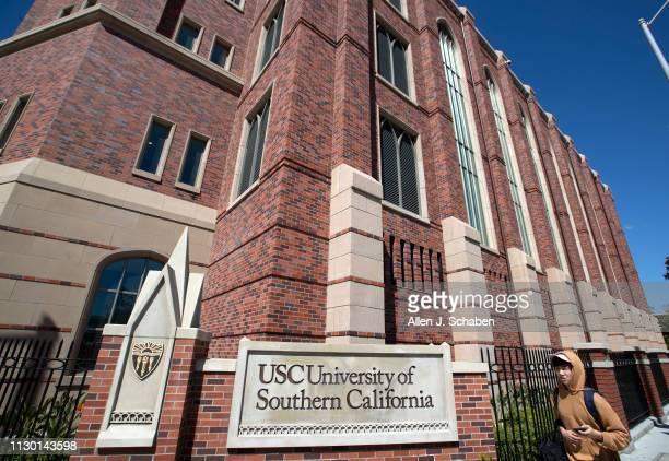 View of people visiting the University of Southern California on March 12, 2019 in Los Angeles, California. Federal prosecutors say their...