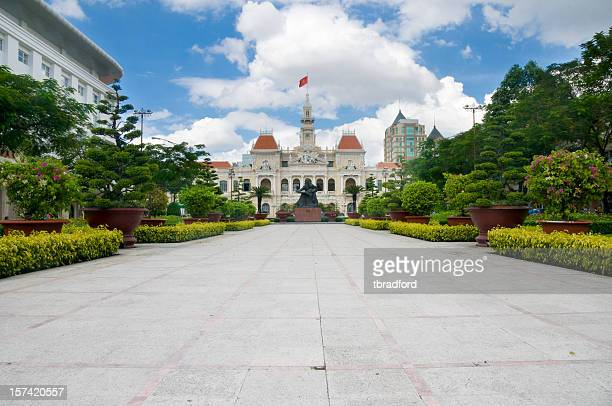 a view of peoples committee building in vietnam - people's committee building ho chi minh city stock pictures, royalty-free photos & images