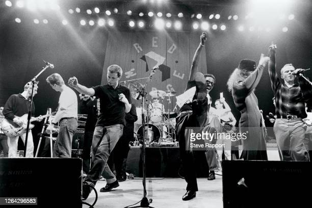 View of performers onstage during the Red Wedge Tour, De Montfort Hall, Leicester, 1/28/1986. Among those pictured are Paul Weller, Billy Bragg,...