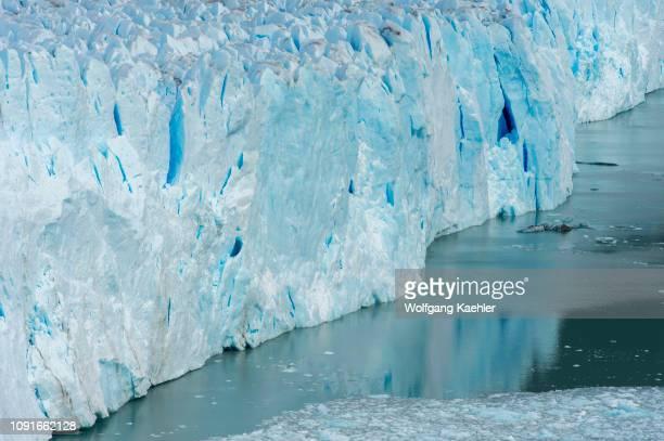 View of Perito Moreno glacier with crevasses in Los Glaciares National Park near El Calafate, Patagonia, Argentina.