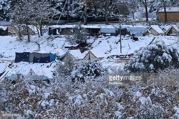 View of Petra refugee camp located on the feet of Olympus mountain in northern Greece near the village Petra Greece on 3 December 2016 After the...