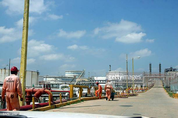 A view of Petroleos Mexicanos or Pemex refinery at Minatitlan Veracruz on the Gulf of Mexico near the giant Cantarell oilfied on March 8 2006 For...