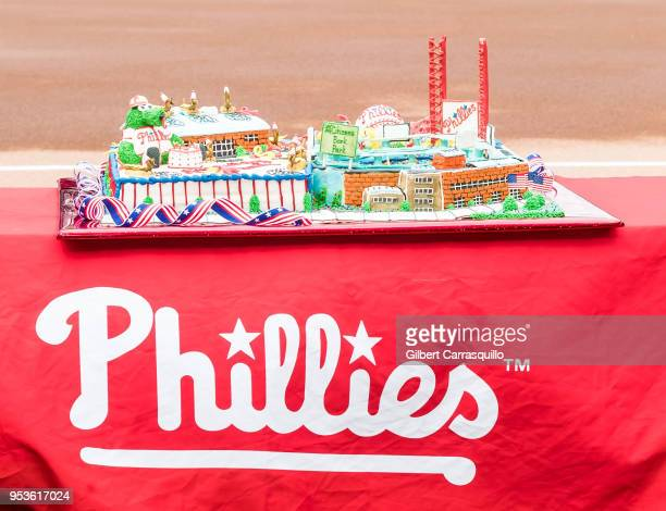 A view of Phillie Phanatic's birthday cake during Phillie Phanatic's 40th Birthday Celebration at Citizens Bank Park on April 29 2018 in Philadelphia...