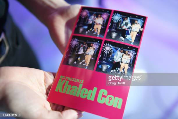 """View of photo print as Sway Calloway and DJ Khaled pose in activation during """"MTV Presents: Khaled Con,"""" a DJ Khaled-hosted fan event in MTV's Times..."""