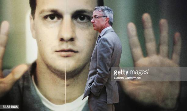 """View of photographer Oliviero Toscani's work at his private viewing of his exhibition """"We, On Death Row"""" at The Boiler House, Brick Lane on December..."""