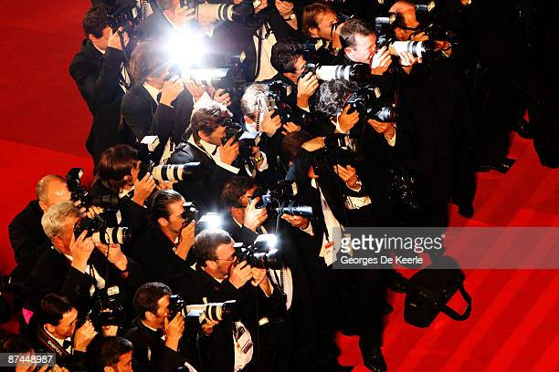 View of photographers at the Vengeance Premiere at the Palais Des Festivals during the 62nd International Cannes Film Festival on May 17, 2009 in...