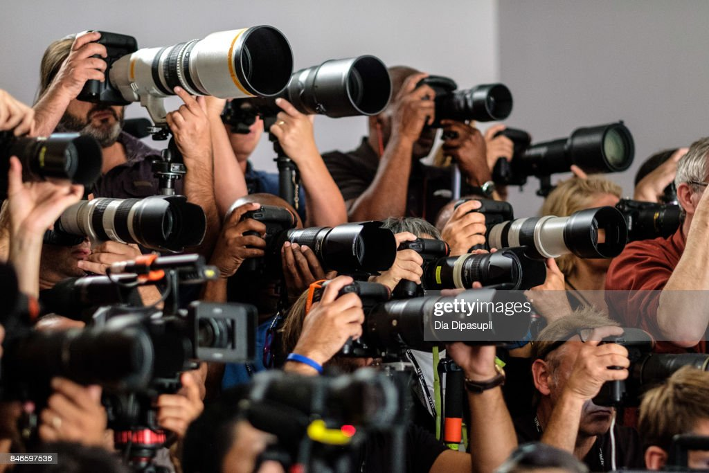 A view of photographers at the Zang Toi fashion show during New York Fashion Week: The Shows at Gallery 3, Skylight Clarkson Sq on September 13, 2017 in New York City.