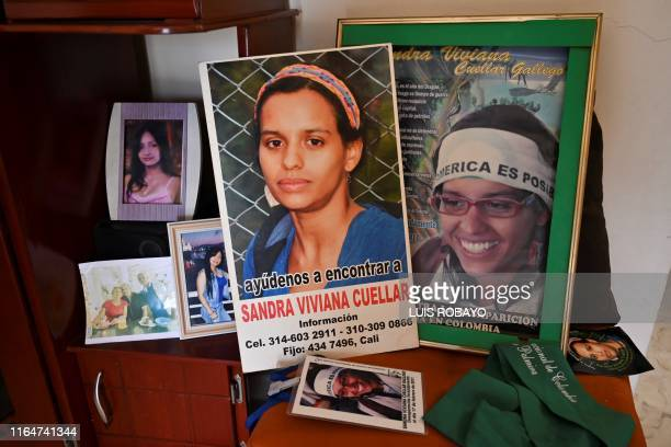 View of photos of disappeared environmental activist Sandra Viviana Cuellar at her mother's home in Cali Colombia on August 24 2019 Sandra Viviana...