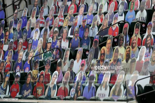 View of photos of fans as the Texas Rangers take on the Colorado Rockies at Globe Life Field on July 26, 2020 in Arlington, Texas.
