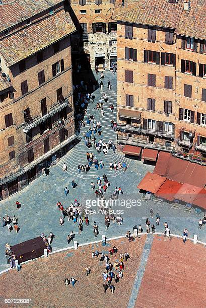 View of Piazza del Campo historic centre of Siena Tuscany Italy