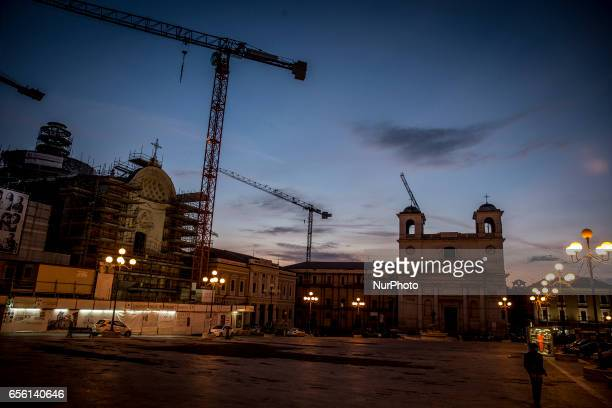 A view of Piazza del Duomo in L'Aquila on March 21 2017 The Eighth anniversary of the L'Aquila earthquake will be marked on 06 April 2017...