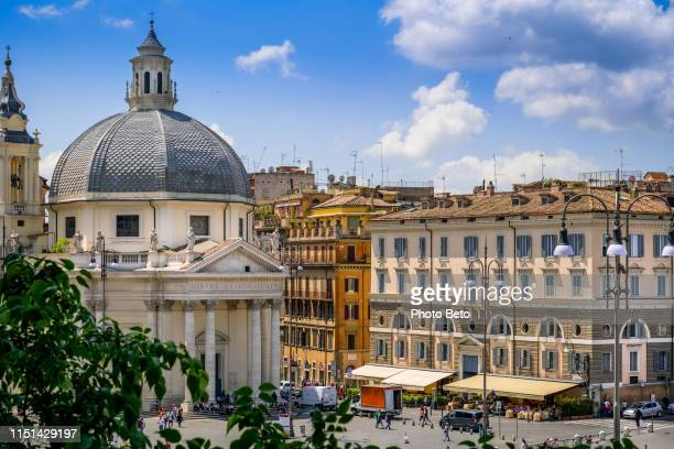 rome - piazza del popolo - villa borghese - neo classical stock pictures, royalty-free photos & images