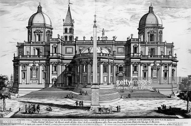 View of Piazza dell'Esquilino with the apse area of the Basilica of Santa Maria Maggiore designed by Carlo Rainaldi Rome Italy engraving by Domenico...