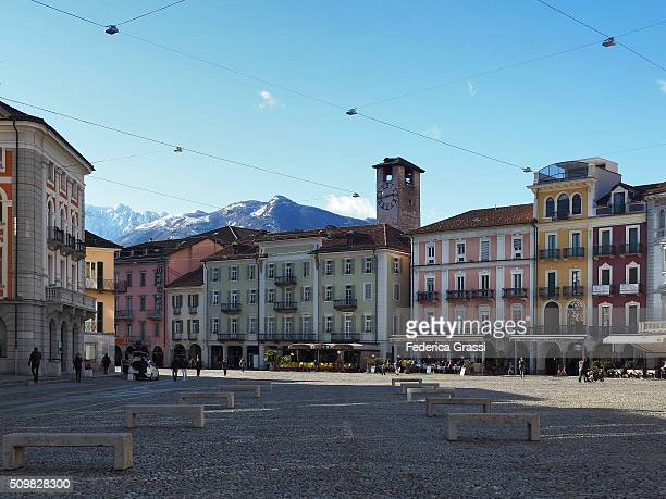 View of Piazza Grande in Locarno, Canton of Ticino, Switzerland