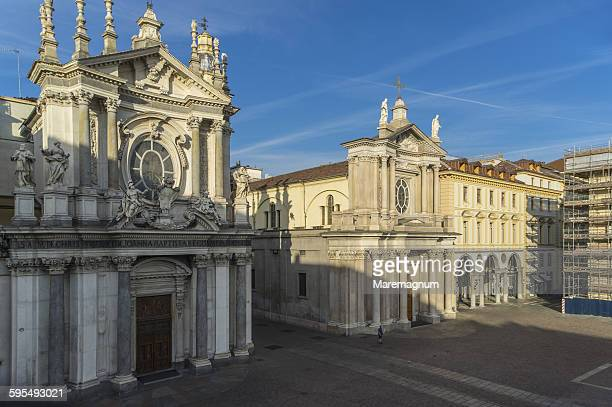 view of piazza (square) san carlo - piazza san carlo stock pictures, royalty-free photos & images
