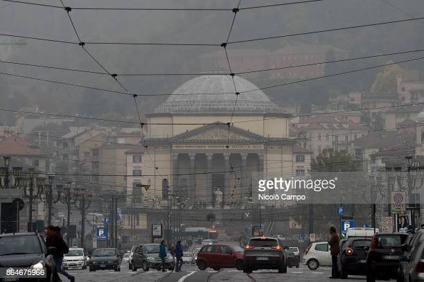 View of Piazza Vittorio on a day of environment alert due to air pollution. Due to poor air quality the Municipality of Turin temporarily limited the...