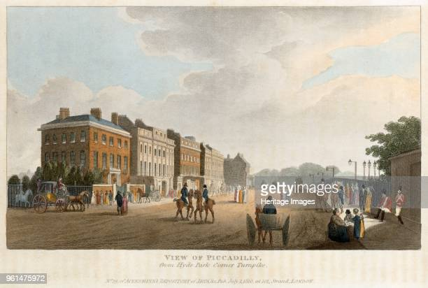View of Piccadilly from Hyde Park Corner Turnpike' London 1810 No 19 of Ackermann's Repository of Arts This view shows the original red brick Apsley...