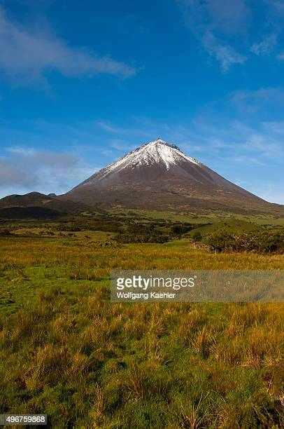 View of Pico Volcano with 2351 m the highest mountain in Portugal on Pico Island in the Azores Portugal