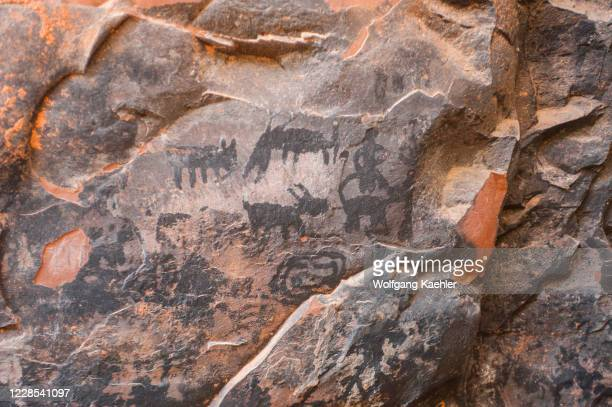 View of pictographs dating back up to 10,000 years at the Palatki Heritage Site in the Red Canyon near Sedona, Arizona, USA.